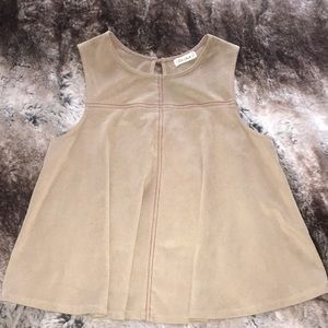 Tops - Tan faux suede drop top! Small